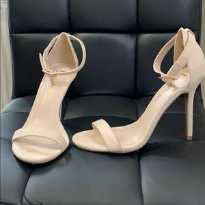 Suede ankle wrap heels
